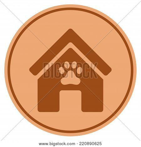 Doghouse bronze coin icon. Vector style is a copper flat coin symbol. stock photo