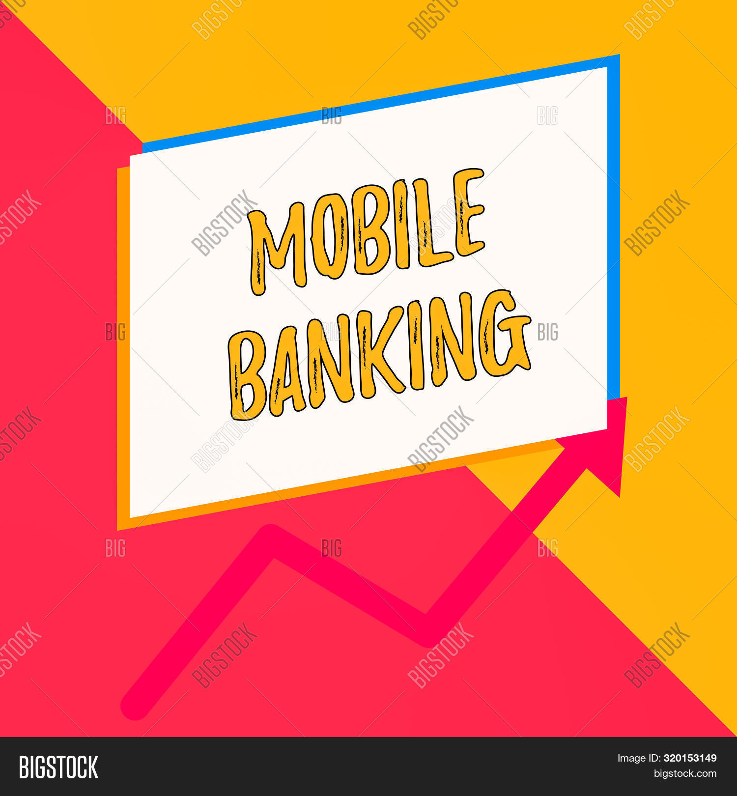 Conceptual hand writing showing Mobile Banking. Business photo showcasing Monitoring account balances Transferring funds Bill payment Blank rectangle above another arrow zigzag upwards sale.