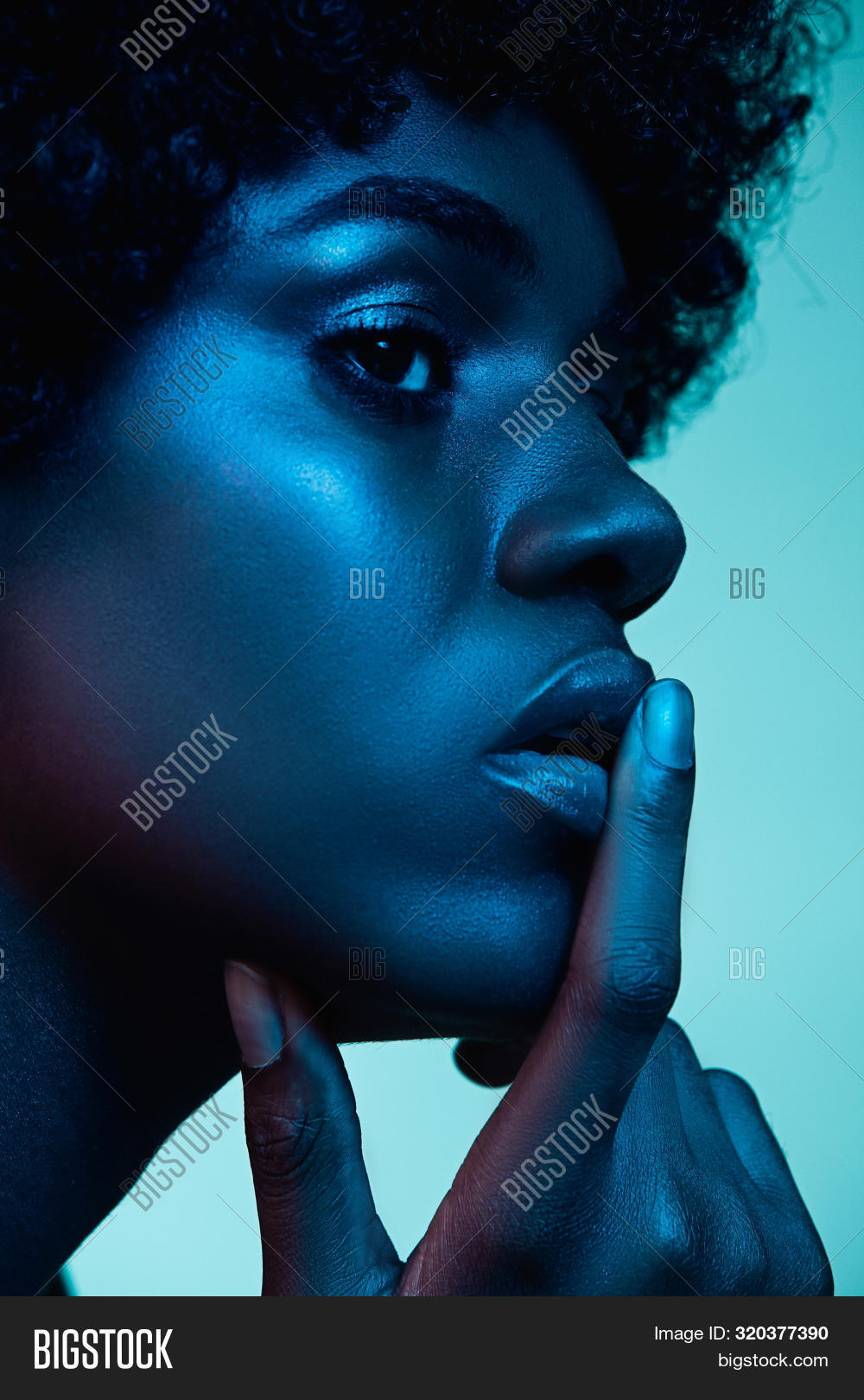 Marvelous Night. Portrait Of Female Fashion Model In Neon Light On Gradient Background. Beautiful Af