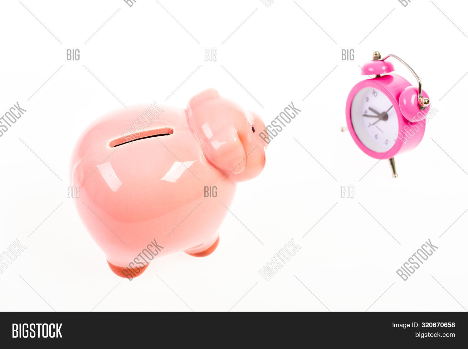 It Is Time To Pay. Piggy Bank Pink Pig And Little Alarm Clock. Financial Crisis. Banking Account. Ba