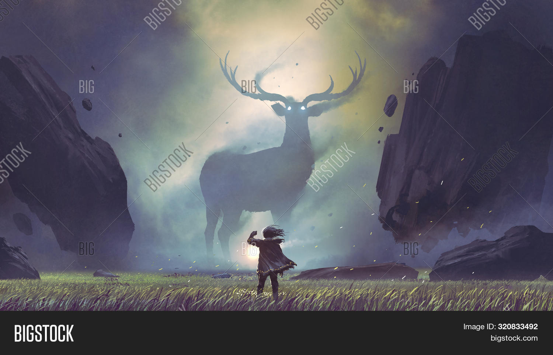 animal,art,artwork,big,concept,creature,dark,deer,dramatic,dreamlike,encounter,facing,fantasy,floating,giant,horns,illustration,imagination,landscape,legendary,magic,majestic,mammal,man,meadow,mystery,nature,outdoor,painting,reindeer,rocks,scenery,silhouette,surreal