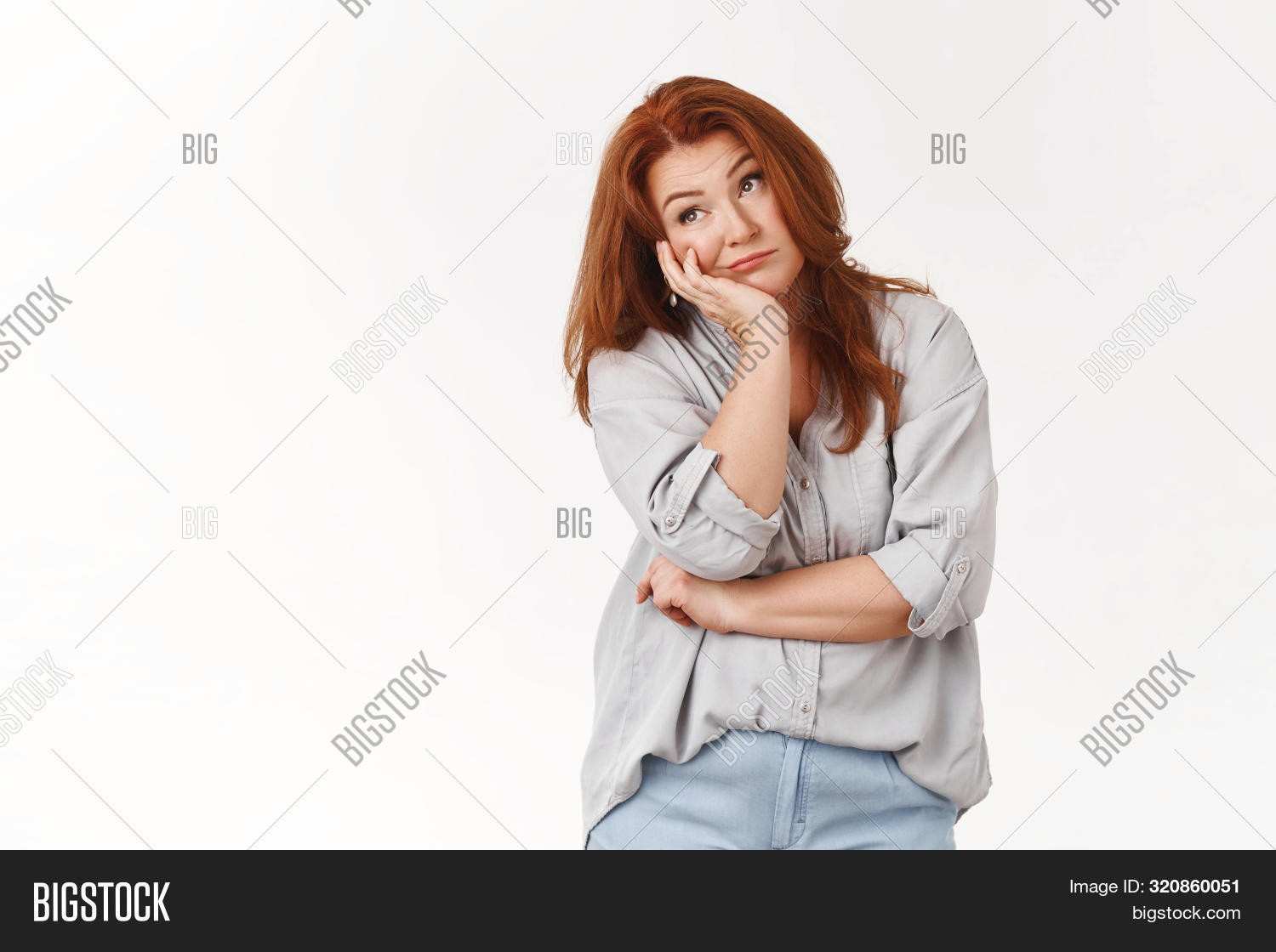 Bored redhead middle-aged housewife smirking regret boredom lean palm unamused moody look away smirking sighing boring day nothing do pondering what watch entertain lift spirit
