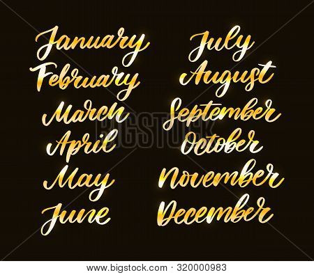 Handwritten names of months: December, January, February, March, April, May, June, July, August, September, October, November. Calligraphy words for calendars and organizers. stock photo