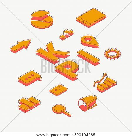 Key performance indicators, financial analysis, strategy planning and company growth statistics data 3d isometric projection icons, business concept design elements set isolated on white background stock photo