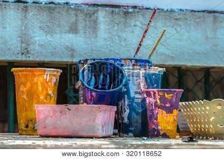 Painting Brushes, Paint Cans, Paint Samples, Paint Concept, Paint Inside Cans With Paint Color Sampl