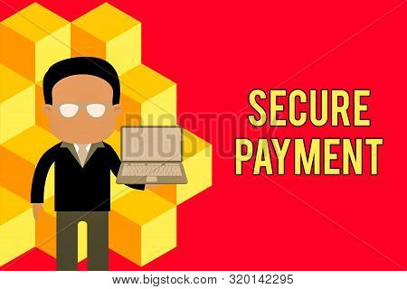 Word writing text Secure Payment. Business concept for Security of Payment refers to ensure of paid even in dispute Standing man in suit wearing eyeglasses holding open laptop photo Art. stock photo