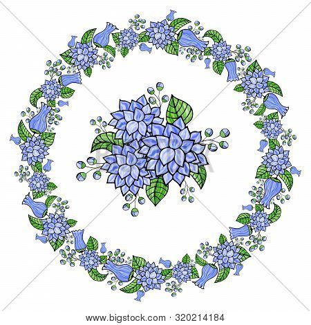 Flower wreath of flowers for greeting cards, design, wedding announcements. Round frame with blue bells and stylized asters on a white background. stock photo