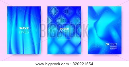 3d Lines Banner. Wave Flow Poster. Blue Dynamic Background. Gradient Distorted Texture. Gradient 3d Lines Cover. Wave Flow Concept. Blue Abstract Brochure. Blue 3d Lines Striped Pattern. stock photo