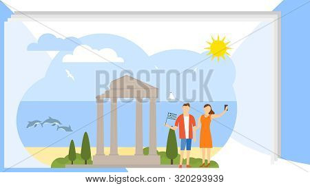 Selfie on the background of attractions. A man and a woman are photographed against the background of the ancient ruins of Greece. Vector illustration stock photo