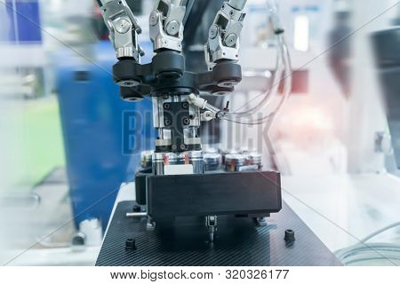 artificial intelligence machine at industrial manufacture factory of battery stock photo