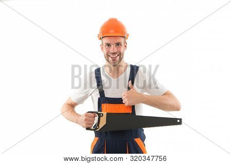Sharp and effective. Repair service. Repair and renovation concept. Handyman home repair. Repairing and renovating. Home improvement. Man in helmet laborer on white background. Repair workshop. stock photo