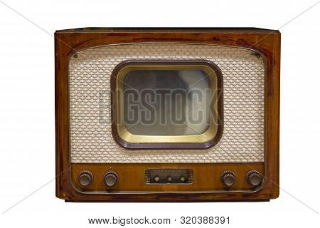 Vintage Television  Old Tv Isolated on White Background. Old-fashioned Television Close Up. Old Grungy Vintage Tv Retro Technology. stock photo