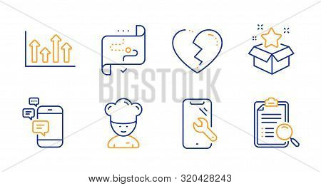 Cooking chef, Communication and Broken heart line icons set. Smartphone repair, Target path and Loyalty program signs. Upper arrows, Search analysis symbols. Sous-chef, Smartphone messages. Vector stock photo
