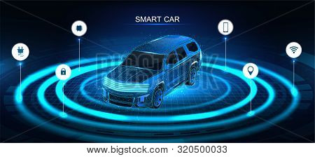 Isometric Smart 3d Crossover. Car Banner, Electric Machine, Vehicle. Smart Jeep Banner With Icons An