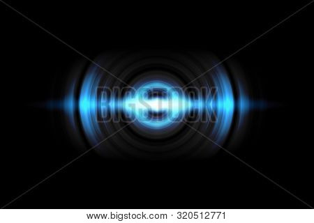Abstract light blue circle effect with sound waves oscillating on black background stock photo