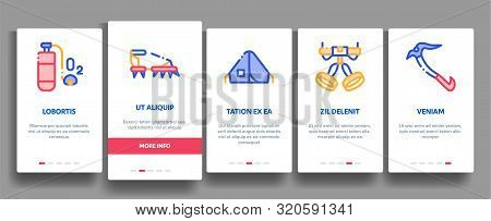 Alpinism Elements Vector Onboarding Mobile App Page Screen. Contour Illustrations stock photo