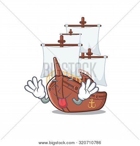 Tongue out pirate ship with the cartoon shape stock photo