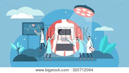 Surgery vector illustration. Flat tiny medical care process persons concept. Inner organs emergency treatment operation. Professional hospital disease aid and help with patient physiological procedure stock photo