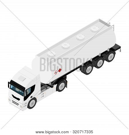 Semi trailer truck vector mockup for car branding and advertising. Isolated lorry Cargo vehicle set on black background. Isometric view stock photo