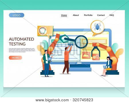 Automated testing vector website landing page design template stock photo