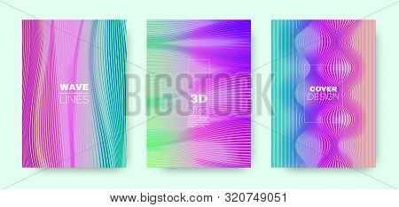 Hologram Lines Concept. Modern 3d Brochure. Dynamic Distorted Texture. Bright Geometric Covers Set. Multicolor Brochure. Vector 3d Linear Shape. Rainbow Halftone Texture. stock photo