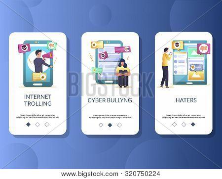 Internet trolling mobile app onboarding screens vector template stock photo