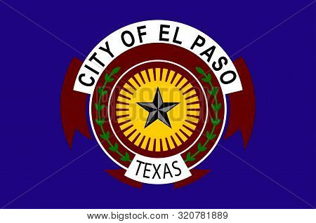 Flag of El Paso is a city in and the seat of El Paso County, situated in the far western corner of the U.S. state of Texas. Vector illustration stock photo