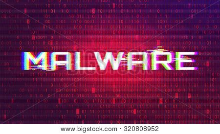 Malware Cyber Security Alert Concept. Dark Red BG stock photo