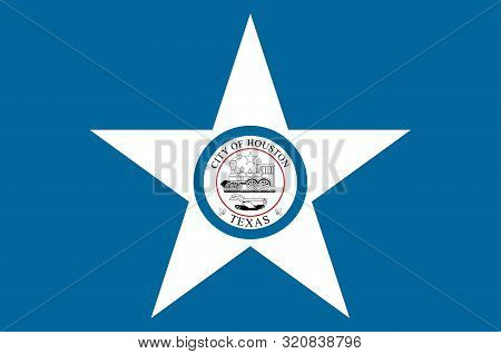 Flag of Houston is the most populous city in the U.S. state of Texas and the fourth most populous city in the United States. Vector illustration stock photo