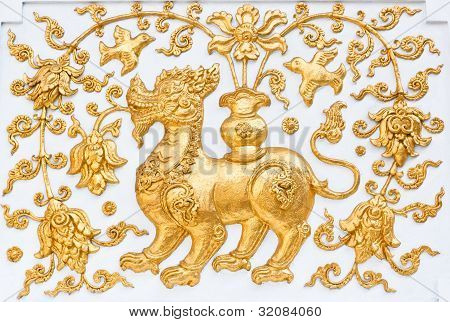 Fairy tale leo in traditional on the wall of Thai temple stock photo