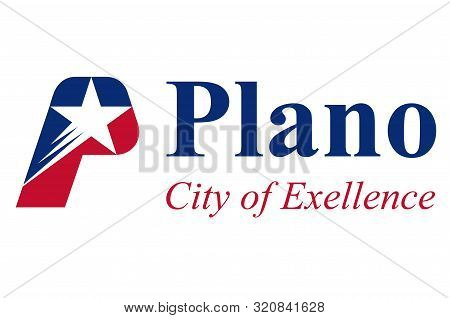 Flag of Plano in Texas, United States. Vector illustration stock photo