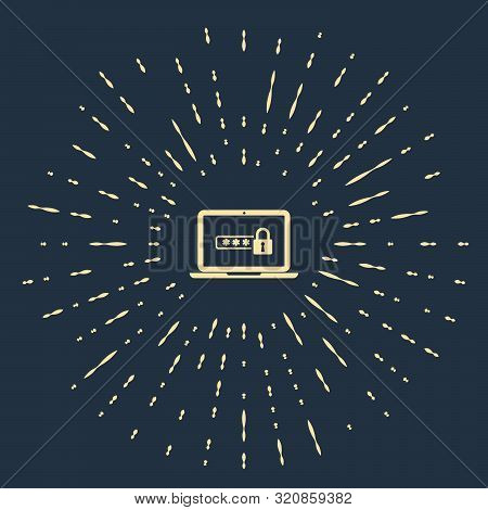 Beige Laptop with password notification and lock icon isolated on dark blue background. Security, personal access, user authorization, login form. Abstract circle random dots. Vector Illustration stock photo