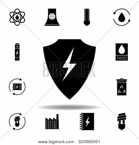 shield, lightning icon . Set of alternative energy illustrations icons. Can be used for web, logo, mobile app, UI, UX stock photo