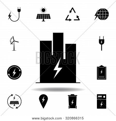 building, lightning icon . Set of alternative energy illustrations icons. Can be used for web, logo, mobile app, UI, UX stock photo