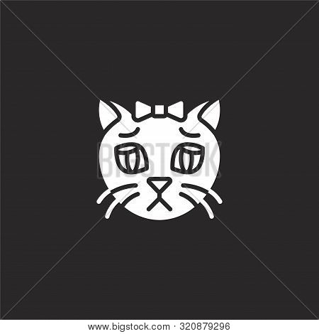 sad icon. sad icon vector flat illustration for graphic and web design isolated on black background from cat avatars collection. sad icon trendy and modern sad symbol for logo, web, app, UI. sad icon simple sign. stock photo