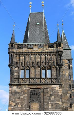 Old Tower on the Charles Bridge in Prague in Czech Republic in Europe stock photo