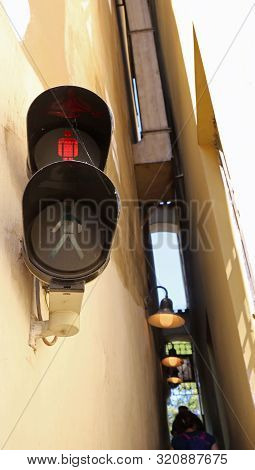 the most narrow street in Europe is in Prague City in Czech Republic stock photo
