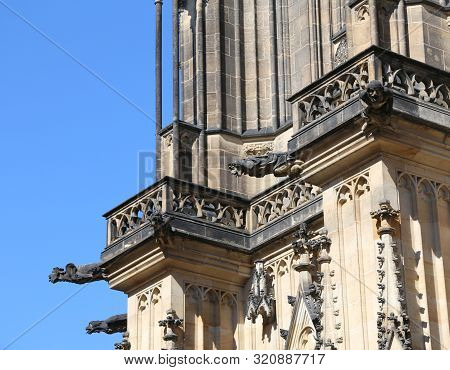 gargoyles of saint vitus cathedral in Prague Czech Republic in Europe stock photo
