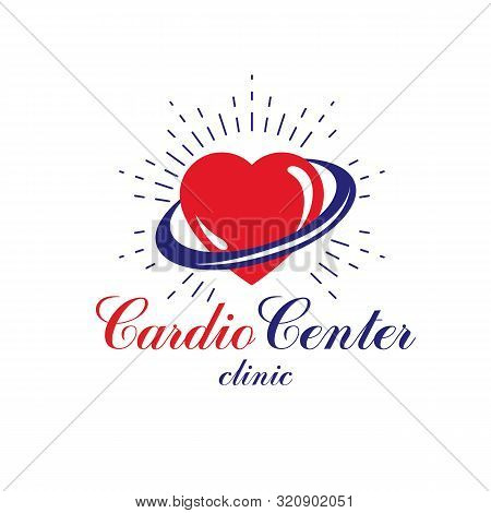 Vector illustration of heart shape. Cardiovascular system diseases prevention conceptual logo for use in pharmacy. stock photo
