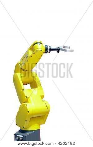 Yellow robotic arm for industry isolated on white stock photo