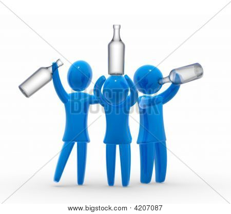 Drunk men holds bottle and stagger around like a drunk. Concept of alcoholism or celebration. stock photo