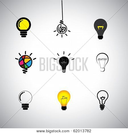 concept vector icons set of different kinds idea & light bulbs. This graphic can also represent genius cleverness providing solution solving problems intelligence smartness innovation stock photo