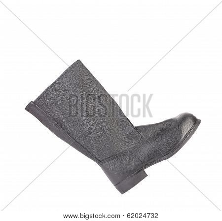 High black color kersey boot. Isolated on a white background. stock photo