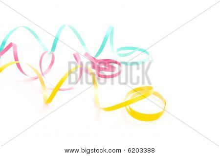 colorful streamers isolated on a white background stock photo