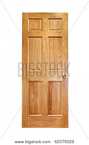 Isolated wooden front door with brass handle on white background-Lg Fridge Magnet Skin (size 36x65)