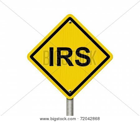 IRS Warning Sign An American road warning sign with word IRS isolated on a white background stock photo