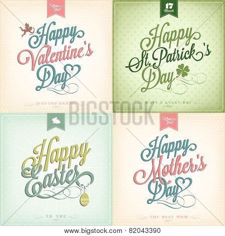 Typographical Spring Holiday Set - Valentine\'s Day - St. Patrick\'s Day - Easter - Mother\'s Day