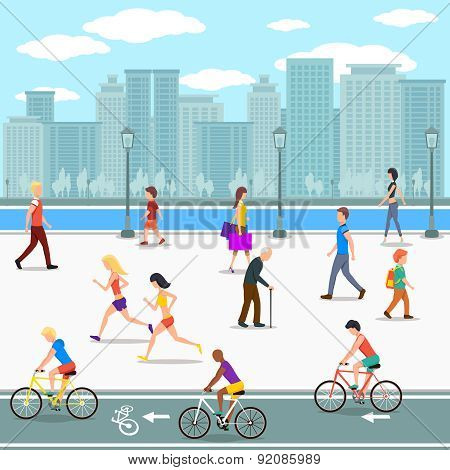 Group of people promenade on city river street. Flat illustration