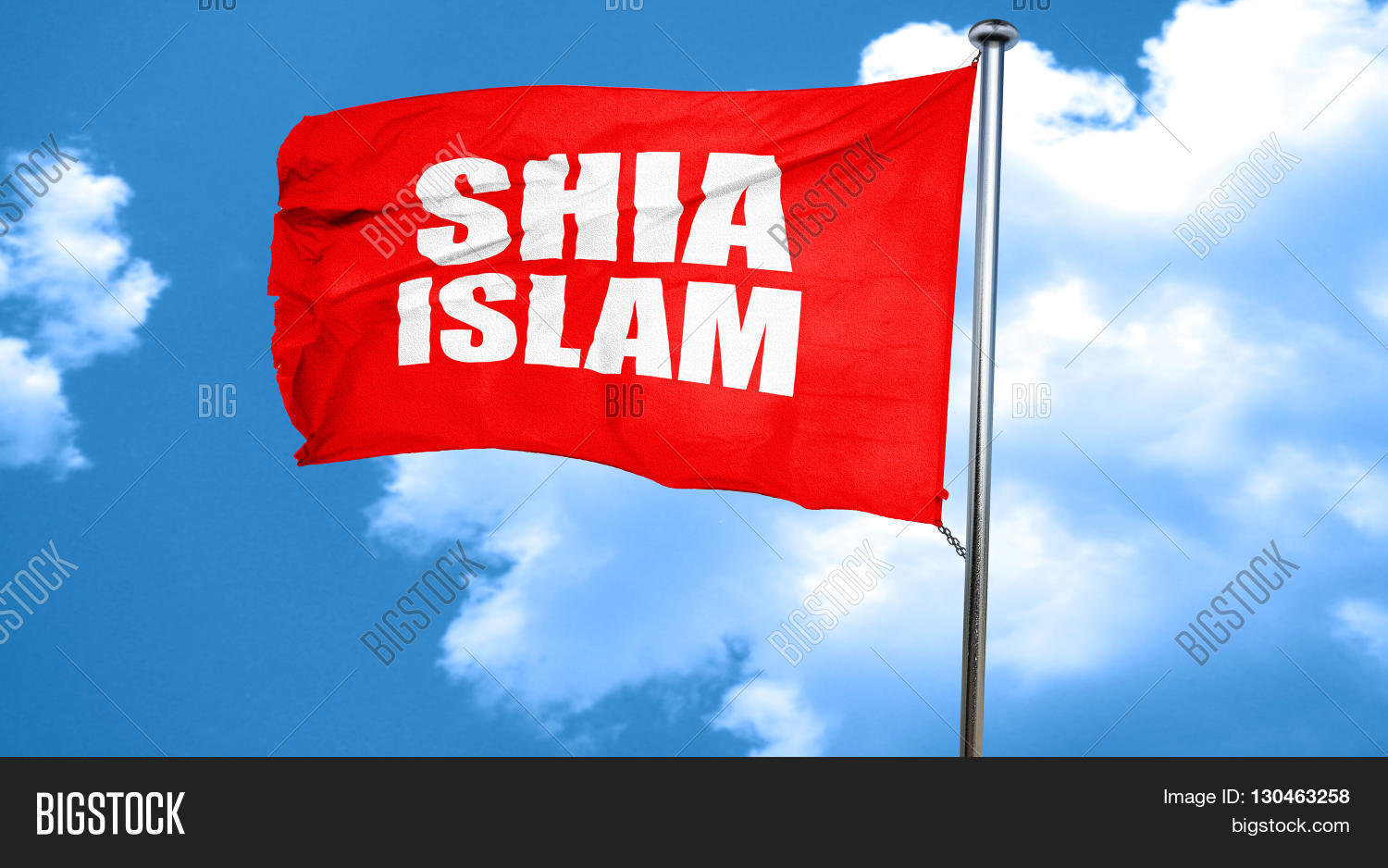 shia islam, 3D rendering, a red waving flag