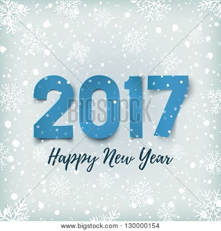 Happy New Year 2017. Blue, Happy New Year 2017 paper typeface on winter background with snow and snowflakes. Happy New Year 2017 greeting card template. Vector illustration.
